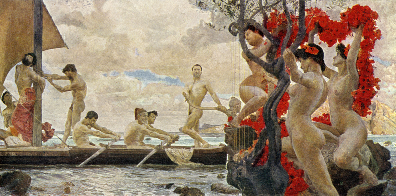 Odysseus (Ulysses) and the Sirens - painting by Otto Greiner, depicting Odysseus having himself chained to the mast of his boat,...A7HXBF Odysseus (Ulysses) and the Sirens - painting by Otto Greiner, depicting Odysseus having himself chained to the mast of his boat,